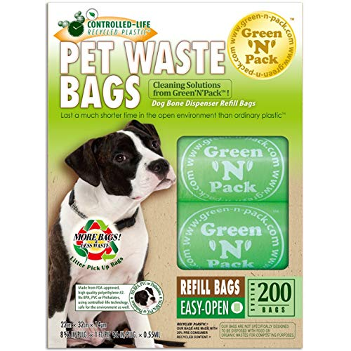 - Green N Pack Dog-Waste Refill Bags, Compact Refill Packs, 200 Bags, 10 Rolls (More Bags & Less Waste)