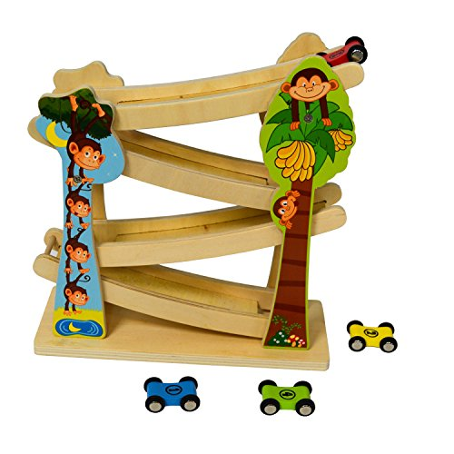 Wooden Flip Car Zig Zag Ramp Switchback Racetrack Play Set with 4 Small Race Cars