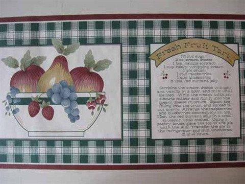 Country Fruit Bowl & Tart Recipe Wallpaper Border 7016776