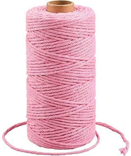3MM Pink Macrame Cord Craft Cotton String, 100M Durable Bakers Twine for DIY Crafts and Handmade Arts