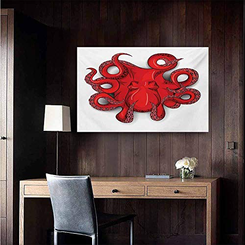 (duommhome Octopus Simulation Oil Painting Kraken Octopus with Shadow Tropical Seafood Marine Tentacle Simple Design Artwork Print Decorative Painted Sofa Background Wall 24