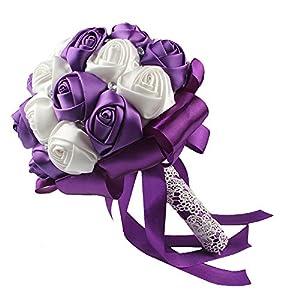 OurWarm Handmade Satin Roses White Beige Crystal Brooch Bridal Wedding Bouquet Decor Purple 5