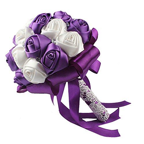Purple wedding bouquets amazon ourwarm handmade satin roses white beige crystal brooch bridal wedding bouquet decor purple mightylinksfo