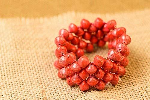 Paper Bead Stretch Imara Cuff Bracelet - Red - Fair Trade BeadforLife Jewelry from Africa ()