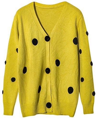 vogueearth Damen's Lang Hülse Knit Polka Dots Cardigan Strickjacke Sweater Sweatshirt Gelb