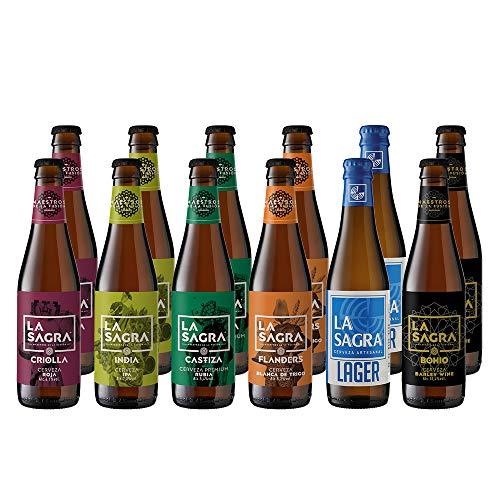 La Sagra Pack Degustación de Cerveza Artesanal 6 estilos – 12 botellas x 330 ml – Total: 3960 ml