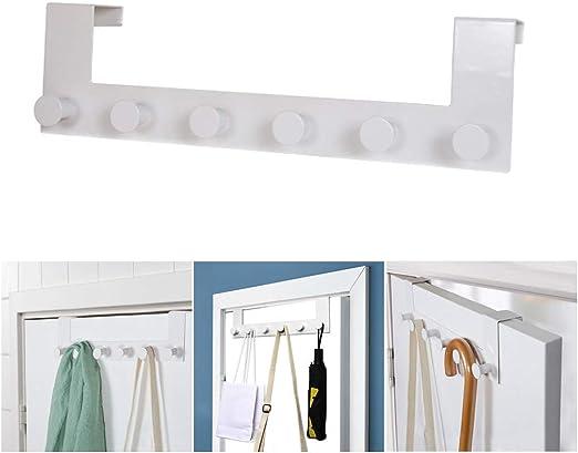 Over the Door Hanger Hook Rack Coat Clothes Hat Towel 6 Hooks Organizer Holder