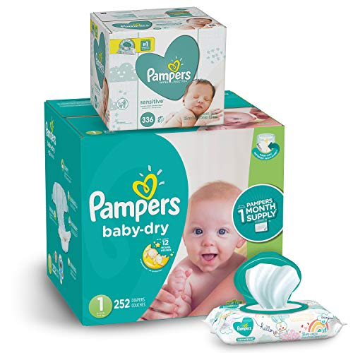 Pampers Diapers Newborn / Size 1 (8-14 lb) - Baby Dry Disposable Baby Diapers, 252 Count ONE MONTH SUPPLY with Baby Wipes Sensitive 6X Pop-Top Packs, 336 Count