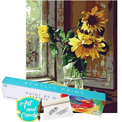 ART & CANDY Paint By Number Kit Celebrity Pop Art Nature Artworks Acrylic Paint Professional Kit DIY Adult Painting Set Canvas Educational Art Therapy Activity (Single pack, Flower) Celebrity Single
