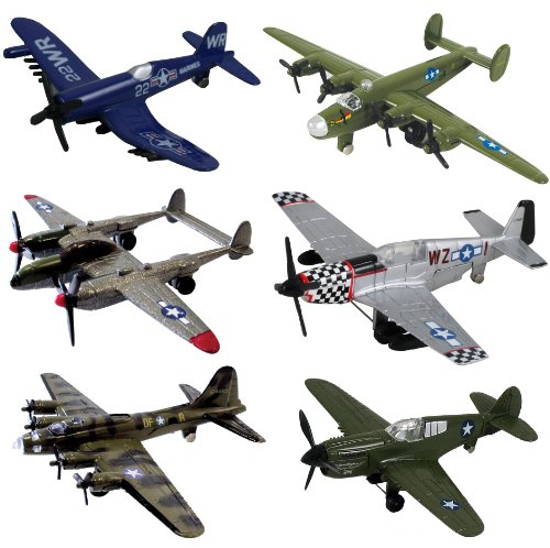 InAir WWII Planes 6-pc Set with Aircraft ID Guide - Assortment 1 (Small Model Airplanes)