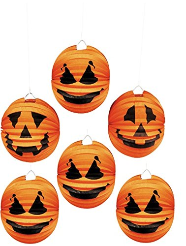 [Halloween Pumpkin Jack-O-Lantern Paper Lanterns (Pack of 6) | Perfect for Party Props, Theme Party Decoration Accessories, Ideal For Gifts, Party favors, Orange Lanterns] (Cute Halloween Carved Pumpkins)