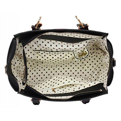 TrendStar Trendstar Damenhandtaschen Der Frauen Schulterbeutel Designer Neue Promi Stil Trage Groß (Lila Trage Bag1) Schwarz/Rot 2