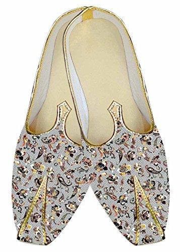 INMONARCH Herren Silber Hochzeit Schuhe Paisley Baumwolle MJ017004
