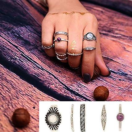 prima clienti nuovo stile e lusso intera collezione Watopi - Set di 8 Anelli per nocche, Stile Punk, Boho ...