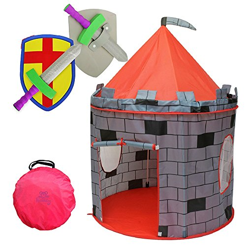 "Kiddey Knight's Castle Kids Play Tent -Indoor & Outdoor Children's Playhouse -- Durable & Portable with Free Carrying Bag – ""BONUS"" Shield and Sword Set - Makes Perfect Gift for Boys & Girls"