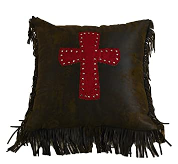 HiEnd Accents Cheyenne Western Accent Pillow, Red Cross