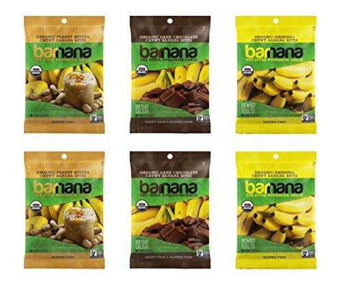 Barnana Organic Chewy Banana Bites 3 Flavor 6 Snack Bag Variety Bundle, (2) each: Peanut Butter, Dark Chocolate, Original (1.4 Ounces)