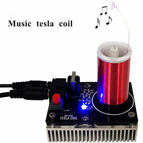 Sunnytech 20W Mini Music Tesla Coil Plasma Speaker Tesla Loudspeaker Wireless Transmission Model WH14 ()