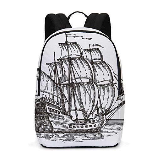 Pirate Ship Durable Backpack,Old Retro Style Ship Floating on Water Antique Cruise Marine Sketch Art for School Travel,One_Size