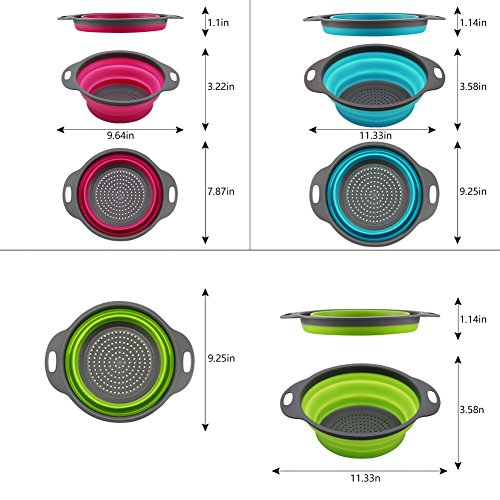 Qimh Collapsible Colander Set of 3 Round Silicone Kitchen Strainer Set - 2 pcs 4 Quart and 1 pcs 2 Quart- Perfect for Draining Pasta, Vegetable and fruit (green,blue, purple) by QiMH (Image #1)