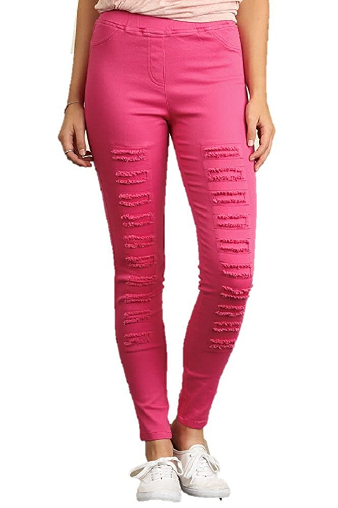 c0bd52089a111 Umgee High Waisted Distressed Straight Leg Jeggings-Hot Pink at Amazon  Women's Jeans store