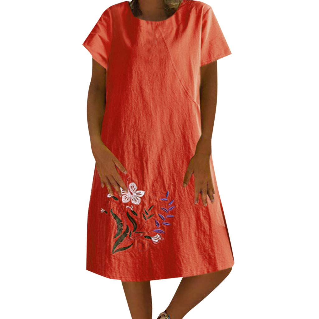 Women Tunic Shift Dress - Ladies Plain Cotton Linen Crew Neck Shorts Sleeve T Shirts Midi Dresses with Embroidery Flower - Loose Comfy Indoor Outdoor Dress (XXL, Orange)