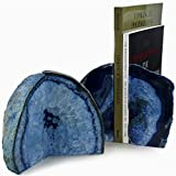 Hypnotic Gems Gallery: Premium Quality Pair of Blue Agate Bookends - 7 to 9 lbs per set - Extra Large Size