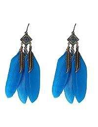 Coromose Vintage Leaf Earrings Feather Drop Earring (Blue)
