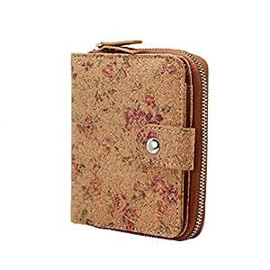 Vegan Cork Wallet, Boshiho Women's Purse Slim Zipper Design with Card Holder Coin Pocket Purse Eco-Friendly Vegan Gift