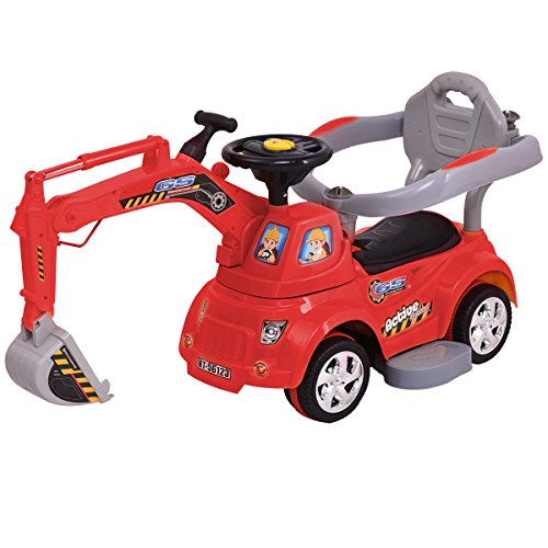 Costzon Ride On Excavator, Electric Digger Scooter, Pulling Cart for Kids w/ Remote Control (Red)