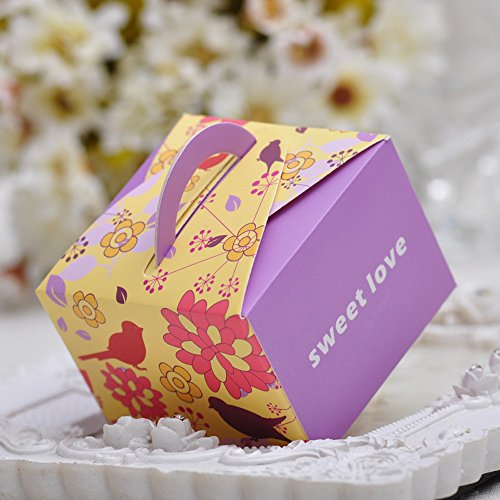 Moleya 50pcs Rustic Wedding DIY Party Favor Candy Boxes with