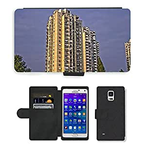 Hot Style Cell Phone Card Slot PU Leather Wallet Case // M00170893 Building Apartments Condos // Samsung Galaxy Note 4 IV