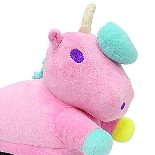 Boomtrader Adult Cartoon Plush Unicorn Slippers Animal Slippers Winter Plush Slippers Pink PV92jAP2d
