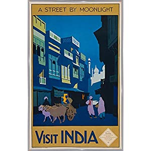 """Frame USA a Street by Moonlight-Visit India-PRIPUB131077 12.75""""x8"""" by Print Collection, 12.75x8, White Metal Frame"""