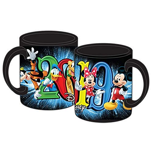 2019 Dated Super Fun Group Mickey Minnie Donald Goofy Pluto 11oz Mug, Black (Florida Namedrop) (Mug Goofy)