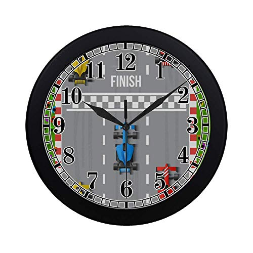 InterestPrint Boy's Toy Cartoon Car Race Finish Top View Modern Round Wall Clock Decorative Quartz Clock for Office School Kitchen Bedroom Living Room, Black