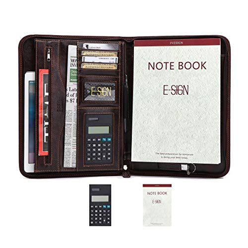 IVESIGN PU Leather Briefcase Business Binder Padfolio Portfolio with Calculator and Writing Pad, Professional Interview Padfolio with Zippered Closure, Interior 10.1 Inch Tablet Sleeve (Dark Brown) ()