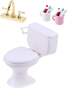 CoscosX 1:12 Dollhouse Vintage Bathroom Toilet Cake Topper Toy Mini Toothbrush Toothpaste Cup Double Faucet for Dollhouse Bathroom Accessories Fairy House Furniture Miniature Toys Dolls Accessories