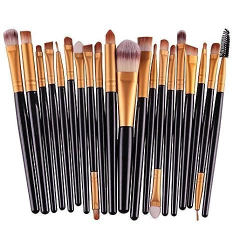 ad4884be8 Set 20 Brochas Profesionales Maquillaje (Set Negro con Dorado ...