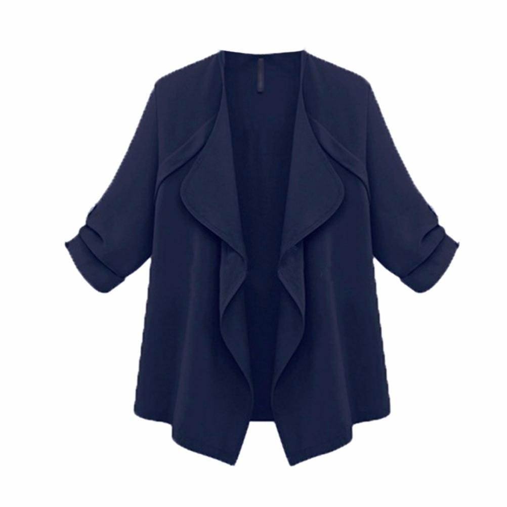 Tootu Home Clothing Clearance Promotions!Tootu Women Autumn Spring Plus Size Solid Long Sleeve Loose Coat Cardigan Navy) TT52584