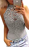 Angashion Womens Sexy Halter Neck Lace Bodysuit Jumpsuit Clubwear Tops, Grey, US S