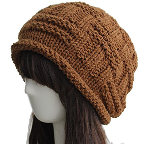 ZORJAR 100% Handmade Cold Weather Chic Fashion Chunky Knitted Hat (Coffee)
