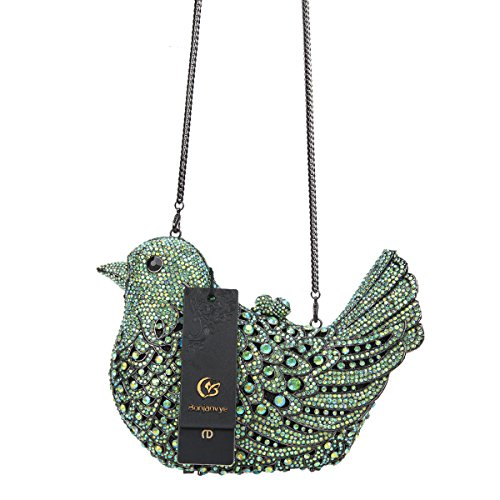 Bonjanvye Rhinestone Girls Evening Purses Green Glitter Bird Bag Blue For Clutch Ab FF8xr5q