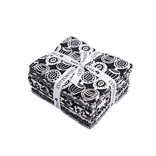 COTTONVILL MallangLuna Black & White Collection Precut Fat Quarter 14pcs Cotton Quilting Fabric
