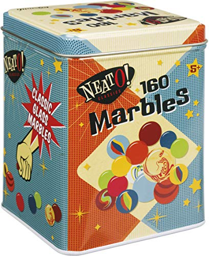 Neato! Classics 160 Marbles in a Tin Box by Toysmith - Retro Nostalgia Glass Shooter, Marble Games are Timeless Play for Kids - Boys & Girls
