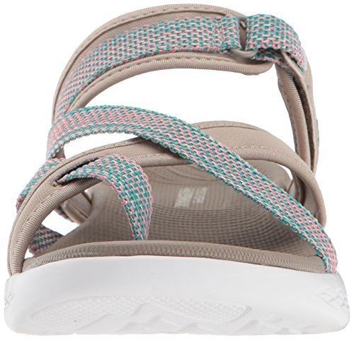 Skechers Dames-on-the-go 600-glow Breed Sport Sandaal Taupe