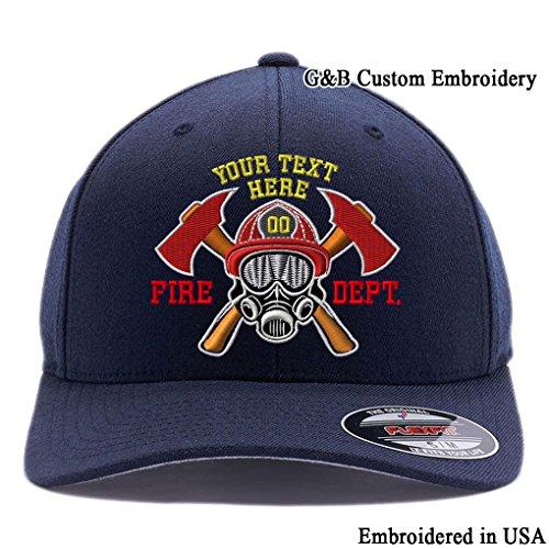 G&B Custom Embroidered Firefighter Hats. 6477, 6277 Flexfit Baseball Caps (S/M, Dark Navy) -