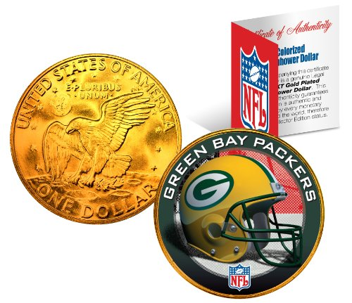 GREEN BAY PACKERS NFL 24K Gold Plated IKE Dollar US Coin OFFICIALLY LICENSED with NFL Certificate