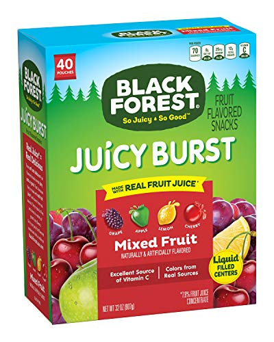 Black Forest Fruit Snacks Juicy Bursts, Mixed Fruit, 0.8-Ounce Bag (Pack of 40)