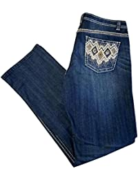 """Dark Indigo Boot Cut Jeans Autumn Hues 1509-2901 Size 12 Inseam 31"""" Western Style Studded Embroidery Pockets"""
